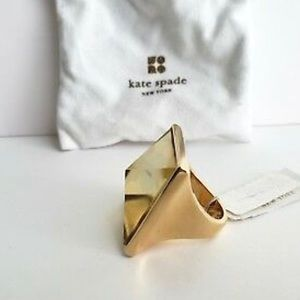 KATE SPADE Sz 6 A$AP Ring Yellow Stone 12k Plated